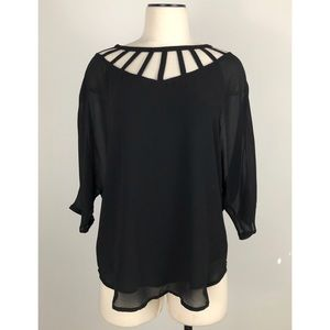 Lost April Black Caged Crepe Blouse